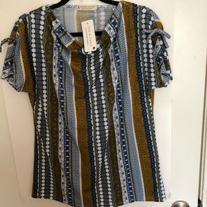 NWT Jon & Ana multi color & design top with side